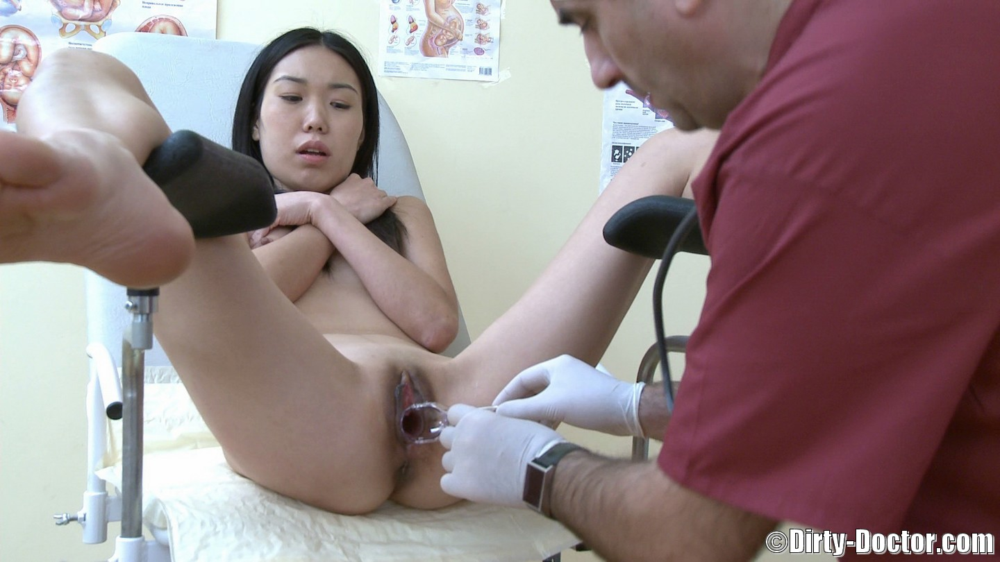 Asian doctor and nurse foreplaying 9